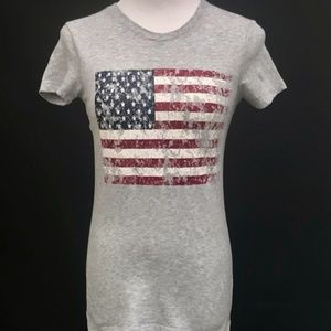 Distressed American Flag Grey T-Shirt Med